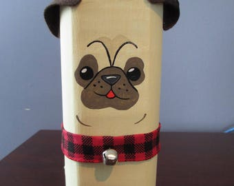 Handmade, Rustic Pug Dog
