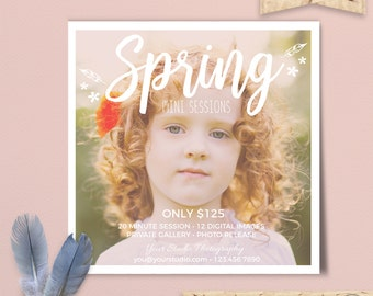 Spring Mini Sessions, Easter Mini Sessions, Spring Marketing Board, Photoshop Template, Spring Photography Marketing Set