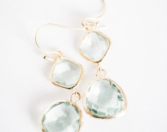 Seafoam and gold beveled glass earrings