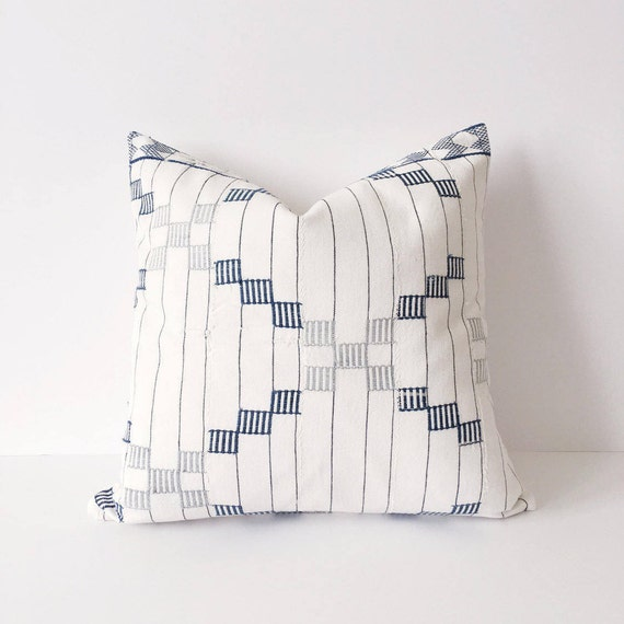 18 x 17 Stripe and Checked Strip Cloth Pillow