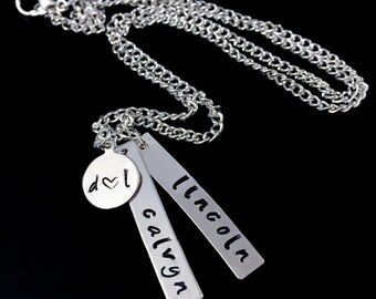 Hand Stamped Necklace - Personalized Family Necklace - Mother's Necklace