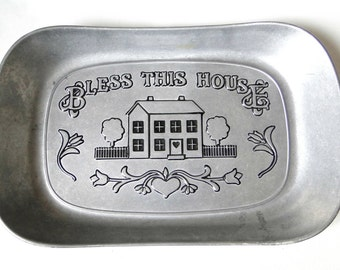 Wilton Armetale, RWP, Bless This Home, Bread, Serving, Tray