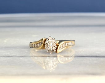 Vintage Marquise Diamond Engagement Ring in 10k Yellow Gold