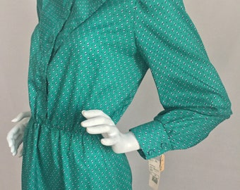 Vintage Breli Originals Made in USA Marshall Fields /Green Shirt Dress with Front Yoke & Print Design Dead Stock-New with Tags/Size 12-Large