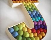 Personalised  Monogram  Letter  kids room  Free standing felt ball wooden letter (rainbow)