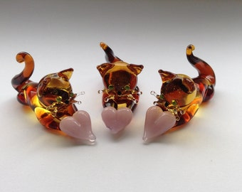 Glass Ginger Cat with Heart