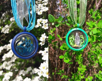 Elemental glass window locket - Earth and Water variety