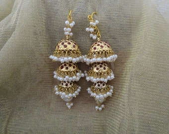 Beautiful triple tier jhumkas with Ruby red or drak green stones/beads and pearls in gold finish