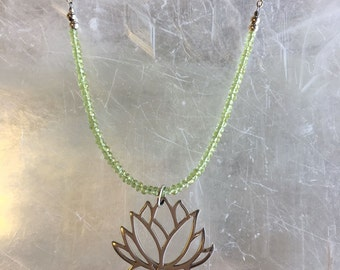 Peridot and Lotus Necklace, Peridot Flower Necklace, Asian Necklace, Green Peridot Necklace, Lotus Pendant Necklace, Lotus Flower, #JS031