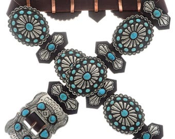 Turquoise Santa Fe Silver Concho Belt Sleeping Beauty and Bisbee II Stones