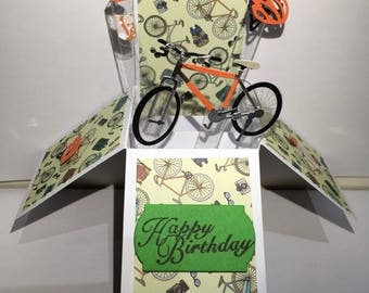 Bicycle pop up box card*Happy birthday pop up card*Father's Day pop up card*son pop up*daughter pop up*brother pop up card*