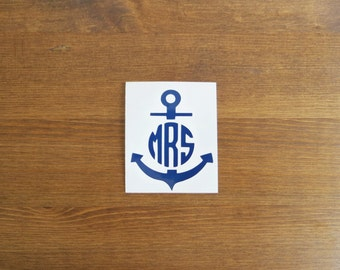 Anchor Initial Monogram Vinyl Decal // Choose Your Color, Size, and Initials