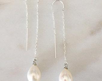 Freshwater White Pearl 9-10mm Earrings, Bridesmaid Earrings