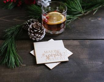 Making Spirits Bright Coasters | Christmas Coasters