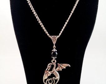 "Silver necklace ""Obsidian Dragon'"""