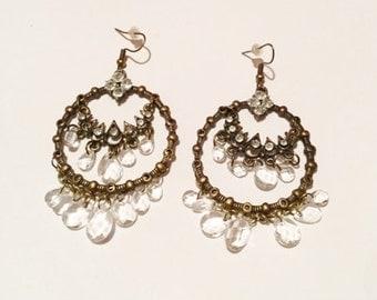 Vintage bronze tone chandelier dangling earrings