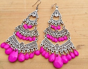 Silver tone Pink multibead bohemian earrings