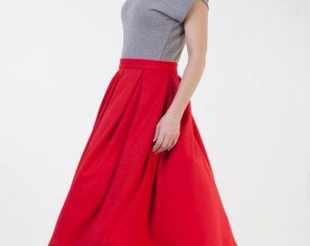 Midi red skirt womens Red pleated skirt Red flared skirt Red office skirt Autumn winter skirt Jersey skirt Classic midi skirt Short skirt