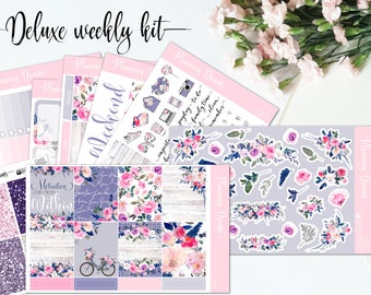 Planner stickers || Emily DELUXE kit || 8 sheets + glitter headers - Erin Condren life planner vertical || Happy Planner, floral stickers