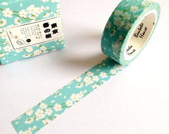 Blue Cherry Blossom Washi Tape, planner supplies, japanese masking tape, floral washi tape, white cherry blossom tape, scrapbooking gifts