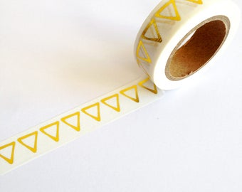 Triangle Gold Foil Washi Tape 10m, copper planner supplies, scrabooking craft tape, journal accessories, gold foil stationery, card making