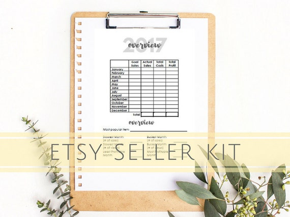 Business Planner | Etsy Business | Sales Tracker | A5 | 26 pg | 2017 | INSTANT DOWNLOAD | Monthly Insert | Etsy Sales | Business Planner