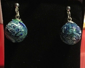 Hand-Painted Planet Earth Earrings