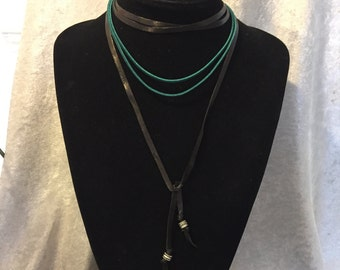 Leather & Suede Choker Adjustable in Teal and Black