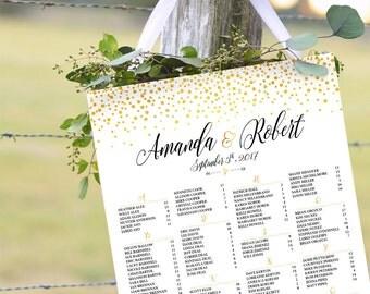 RUSH SERVICE, Gold Glitter Confetti, Wedding Seating Chart, Printable Wedding Seating Chart, Gold Polka Dots - US_WC0201a