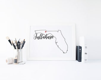 Florida Print - State Print - Hand Lettered Print - Florida - Custom State Print - Personalized State Print -Custom State Sign -Florida Sign