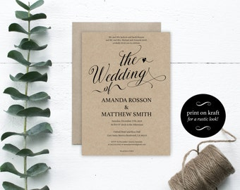 Wedding Invitation Rustic - The Wedding Of - Printable Wedding Invitation - Wedding Invitation Template -  Downloadable Wedding #WDH0168