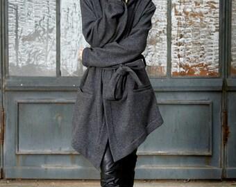 Winter Coat, Wool Coat, Hooded Coat, Oversized Hoodie, Short Coat, Hooded Wool Jacket, Plus Size Coat, Hoodie, Asymmetrical Coat,Hooded Cape
