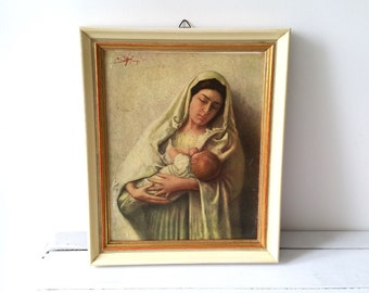 Religious old picture frame Madonna with child