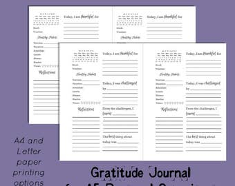 Gratitude Journal printable for A5 sized planners. Printing options for A4 and Letter paper
