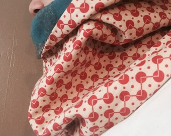 Retro White + Red and Blue + Gray Flannel Functional Handmade Collar Coze Cowl Neckwarmer