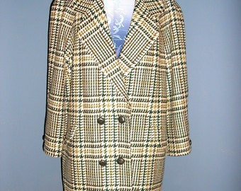 Vintage 80s Aquascutum double breasted plaid wool coat England large Mint