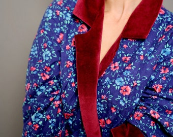 Womens robe Women's robe Womens printed robe Dressing gown Vintage robe Refashioned robe Up cycled gown 80s robe Blue dress Flower print