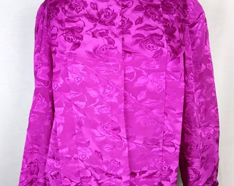 Vintage 80s Fuchsia Floral blouse, Ruched and buttoned collar, Silky