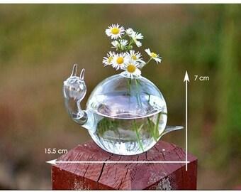 Cheap Decorative Glass Vases Snail Shape Air Planter Decoratives Vase