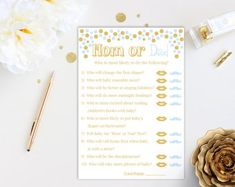 Mom or Dad Quiz ~ Blue and Gold Baby Shower Game ~ Baby Boy Pram ~ Printable Game 0024BG