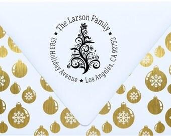Holiday address stamp - return address stamp - Christmas personalized address stamp - CR2