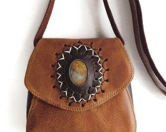 Gemstone set in Brown Leather Punched Handstitched Cross body Boho Bag Tribal Style