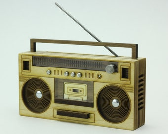 Wood Boombox - Miniature Art Object - 1980's Old School Style