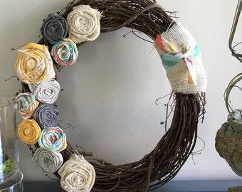 wreath, grapevine wreath, fabric flower wreath, front door wreath, rustic wreath, home decor