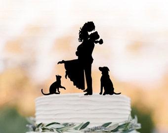 Bride and groom silhouette Wedding Cake topper with cat, topper with dog cake topper for wedding, groom lifting bride