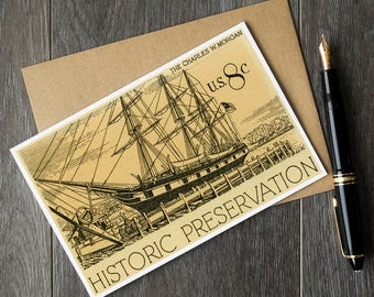 Wooden ship birthday cards, US whaling fleet history, sailing ship gift ideas, Charles W Morgan ship, unique teacher retirement cards