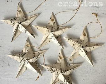 Christmas Stars Tree Decorations Vintage Old Music Notes, 5 Pack vintageBe creations READY TO SHIP