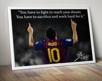 Lionel Messi Inspirational Quote Poster