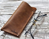 Leather Glasses Case Leather Reading Glasses Case Leather Glasses Box Eyeglass Case Gift for him Dad gift Brown case Gift for father