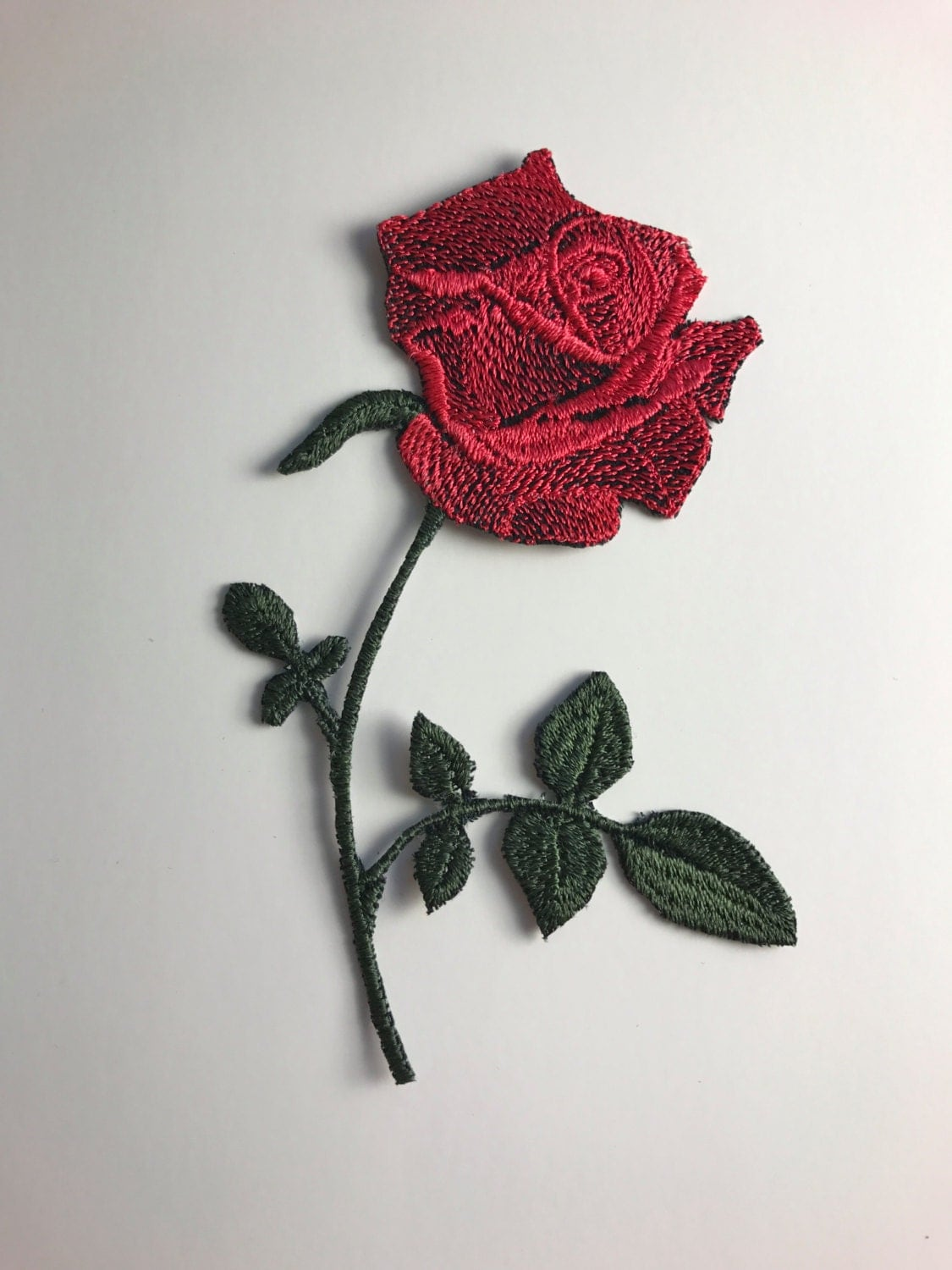 Rose iron on patch red or pink detailed embroidered